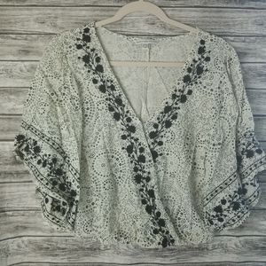 American Eagle Boho Floral Embroidered Crop Top